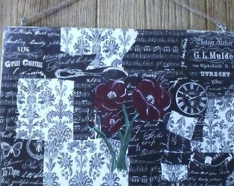 Black and White Scrapbook on Wood