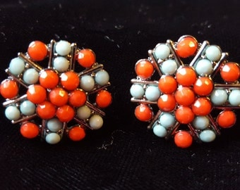 Red and Pale Turquoise Rhinestone Stud Earrings