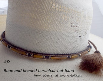 Horsehair hat band. Cowboy hat horsehair hat band hand-made, Love This new Boned incert trimmed Horse hair tassels hatband hand-made