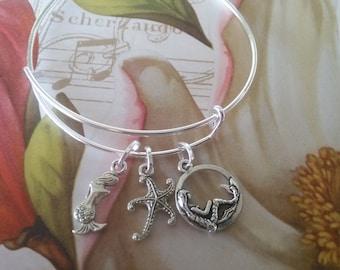 bracelet, MERMAIDS, Starfish, wire bracelet, bangle, Stackable