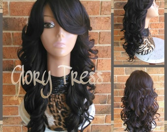 CLEARANCE // Beautiful Wavy/Curly Fullcap Wig, Long Dark Brown Wig, Wedding Hairstyle // HEAVEN