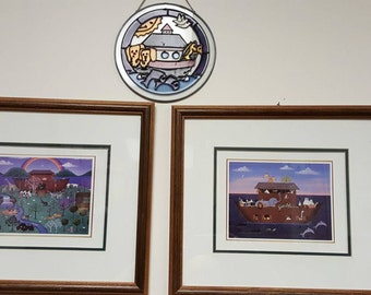 WEEKEND SALE!! Set of professionally framed Noah's Arch prints along with stained glass Noah's Arch wall or window art
