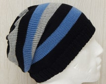 Knit Men's Hat, Knitted Slouchy Beanies, Handmade Striped Hat, Winter Slouch Beanie, Knit Mens Hats, Warm Slouch Hat, CHOOSE SIZE