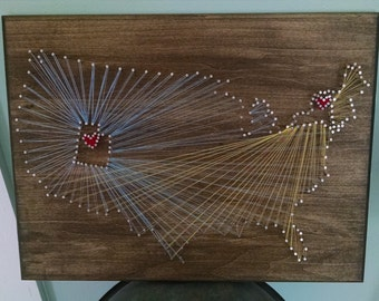 Personalized State Art, String Art, Wedding Sign, Map of US, String Art of States