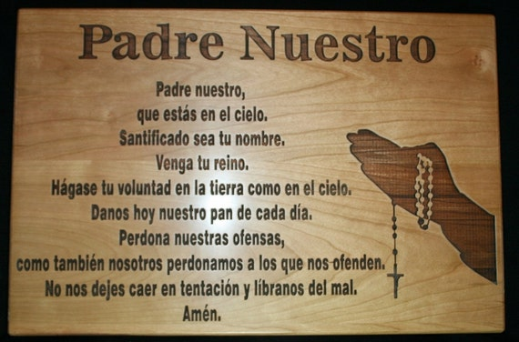 Padre Nuestro The Lord's Prayer in Spanish Cutting