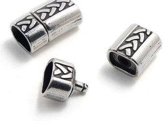 25pcs Licorice Leather Clasp Sterling Silver Plated - Zamak Clasp - Sterling Silver Plated Clasp - Silver Clasp