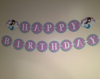 Purple and Aqua Mermaid Birthday Banner