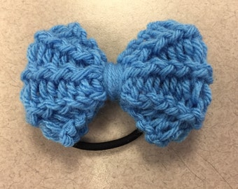 Clear Blue Knit Bow Hair Tie/Headband