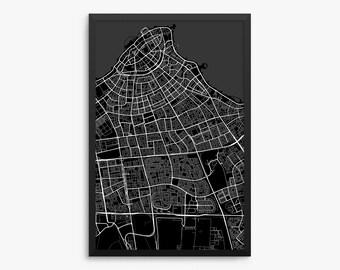 Kuwait City Map Art Etsy