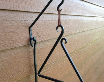 Hand Forged Square Bar Dinner Triangle and Mounting Hook
