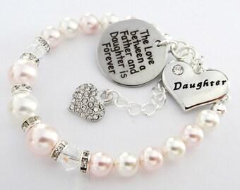 Swarovski - Rosa/White 3bd/2bi*Love between Father/Daughter R.heart *Bracelet,Daughters birthday gift,Christmas, Daughter bracelet, baptism