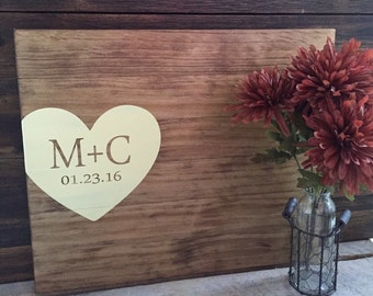 Rustic Wedding Guest Book Alternative / Initials & Heart Guest Book / Wood Guest Book Rustic Wedding Decor Wood Sign Country Wedding Gift