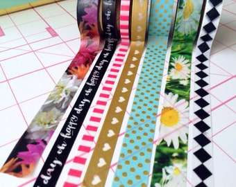 18'' The happy planner washi tape set samples, mambi, me and my big ideas, flowers, gold washi tape, words washi tape