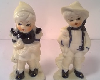 Vintage Ceramic Japan Boy and Girl Figurine Set