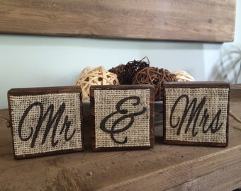 Mr and Mrs Blocks, Wedding Blocks, Rustic Wedding, Wood Blocks, Burlap.