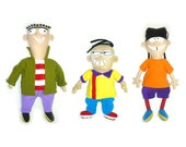 Сartoon characters Ed, Edd n Eddy. Handmade, multicolored. Soft toys, plush dolls. The best gift for a teenager. Made to order.