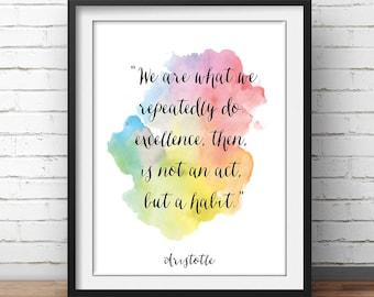 """Aristotle Poster Quote """"Excellence is a habit"""" Watercolor Artwork Printable Decor Philosophy Print Philosopher Decor Office Décor"""