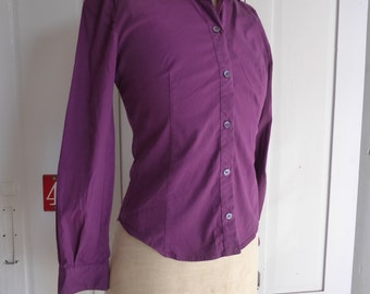 Vintage Miu Miu purple cotton stretch shirt blouse size 40 UK 8