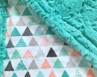 Geometric Minky Baby Blanket