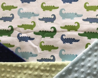 Personalized Minky Baby Blanket, Happy Alligator Minky Baby Blanket