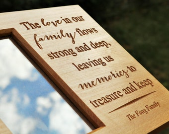 Personal Message Beech Wood Picture Frame with Carved Lettering