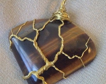 Wire Wrapped Tiger's Eye Pendant