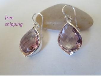 Amethyst earrings set in 92.5 sterling silver, faceted gemstone
