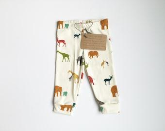 Safari animals organic cotton knit ready to ship leggings