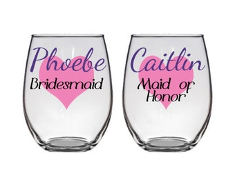 Bridal party stemless wine glass - Wedding - Bridesmaid - Matron  / Maid of Honor - Custom personalized glassware - hearts, names - Set of 2