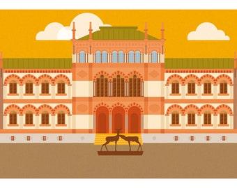 "Milan Icons ""natural history museum"" di Milano-horizontal card 21x10 cm"