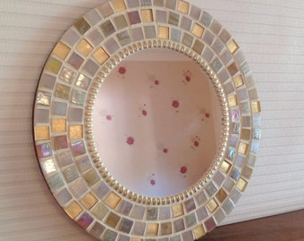 Round Mosaic Wall Mirror in Gold & Cream 30cm Hallway Lounge Bathroom Mirror