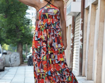 Extravagant Summer Dress, Plus Size Long Dress, Evening Sleeveless Tunic, Maxi Open Back Dress by SSDfashion