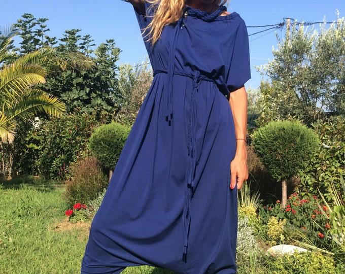 Plus Size Jumpsuit, Drop Crotch Pants, Extravagant Loose Jumpsuit, Maxi Cotton Jumpsuit By SSDfashion