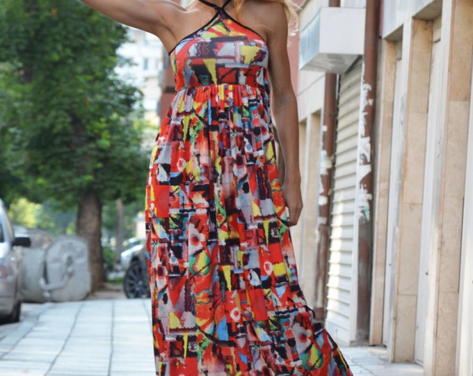 Extravagant Summer Dress, Plus Size Long Dress, Evening Sleeveless Tunic, Maxi Open Back Dress by SSDfashion