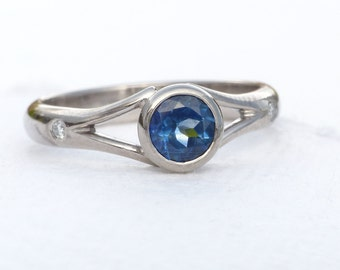 Fair Trade Blue Sapphire and Diamond Engagement Ring, Handmade to Size