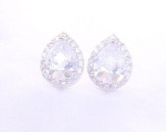Bridal Stud Earrings, Wedding Jewelry, Bridal Jewelry, Bridesmaid Gift, Bridesmaid Jewelry, Clear White Cubic Zirconia Tear drops Ear Posts
