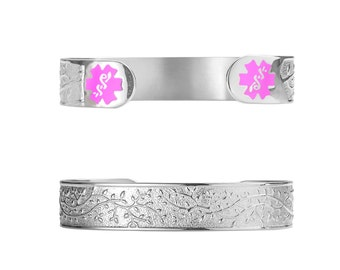 """Lovely Filigree Olive 316L Medical ID Cuff-6""""( fits 6.5-8.0"""" wrists) -Free Custom Engraving, Wallet Card, Apps-Blue-5305SPK"""