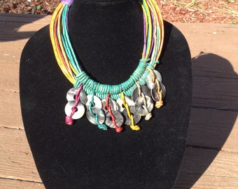 Pure multicolor leather necklace