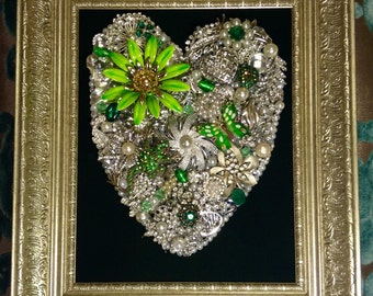 Vintage to new recycled jewelry rhinestone flower butterfly Zen art gift