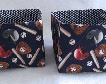 """2 Cute Baseball Print Fabric Baskets 7""""x8""""x5"""" each Baby Storage Toddler Boy Organizer Bin Caddy Nursery"""