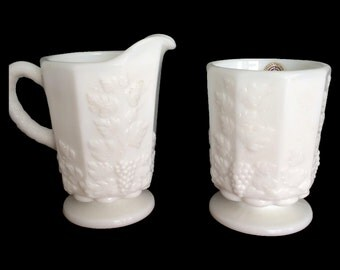 SALE!! Westmoreland Milk Glass Sugar & Creamer