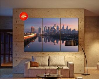 Philadelphia wall art print prints on canvas Philadelphia skyline in a morning mist photo art work framed art artwork