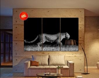 Leopard wall decor art  Leopard black white  Leopard canvas wall art  canvas wall art