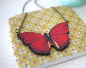 Handmade Butterfly Necklace in red