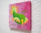 Green Bird Wall Art Nursery Themes for Girls, Nursery Decor Wall Art, Pink Paint Baby Girl Room Decor, Pink and Green Nursery Artwork Ideas