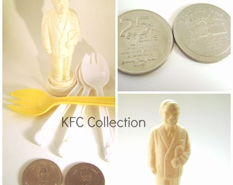Vintage KFC Lot, Kentuck Fried Chicken collectables, Colonel Sanders Salt Shaker, Kentucky Buck, 25th Anniversary Token and Sporks