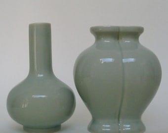 Celadon Porcelain Vases, Pair