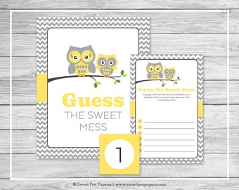 Owl Baby Shower Guess The Mess Game - Printable Baby Shower Guess Sweet Mess Game - Yellow Owl Baby Shower - Diaper Game - Owl Baby - SP133