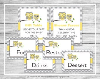 Owl Baby Shower Table Signs - Printable Baby Shower Table Signs - Yellow Owl Baby Shower - Owl Shower - Baby Shower Signs - EDITABLE - SP133
