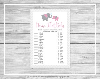 Elephant Baby Shower Name That Baby Game - Printable Baby Shower Name That Baby Game - Pink and Gray Elephant Baby Shower - SP101